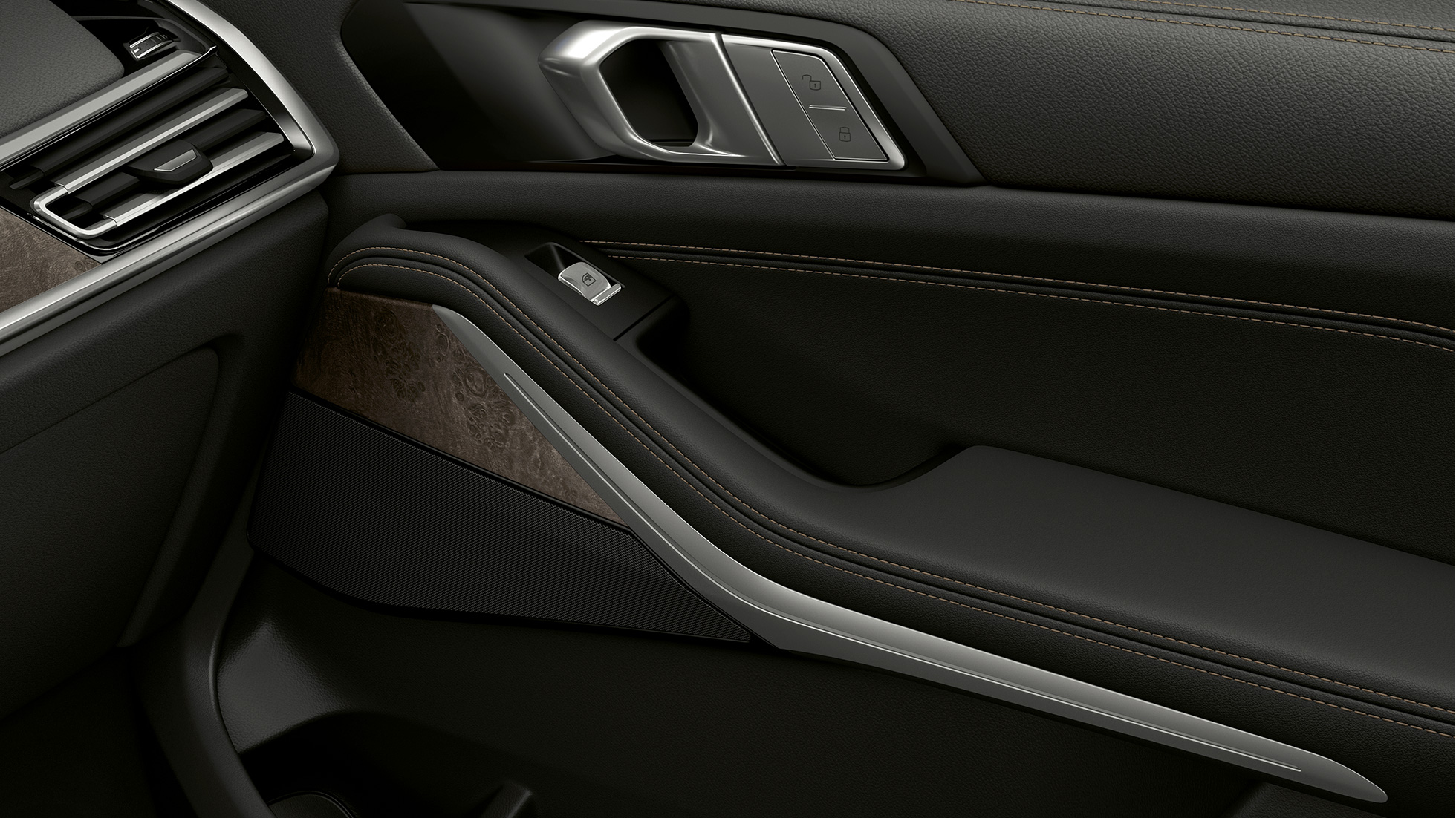 Close-up of the inner door of the BMW X7